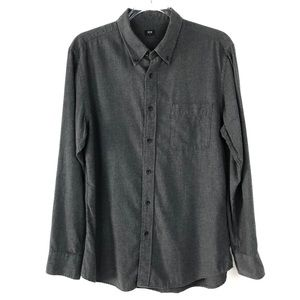 Men's Uniqlo Dark Gray Button Up Long Sleeve Shirt
